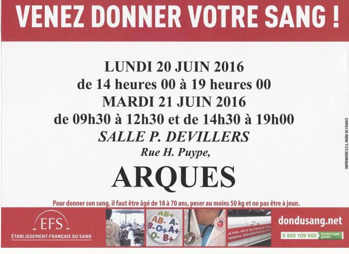 Affiche don du sang 20 et 21 juin 2016