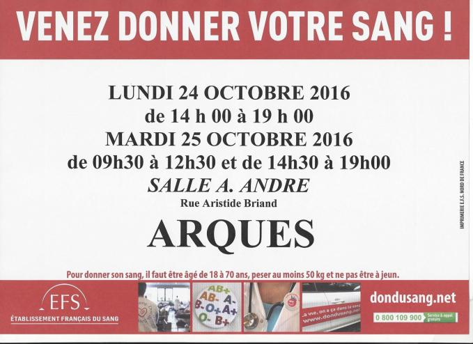 Affiche don du sang 24 et 25 oct 2016