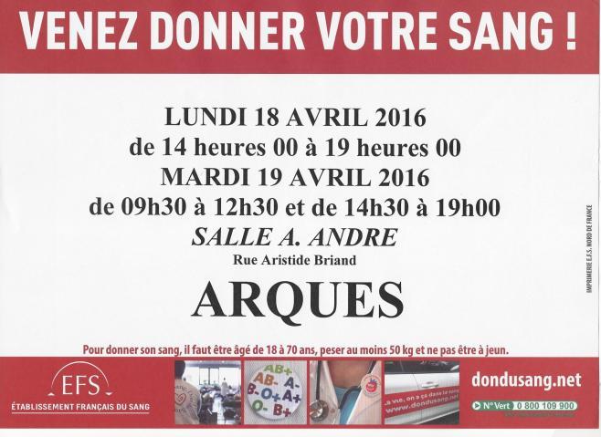 Affiche don du sang18 et19 avril 2016