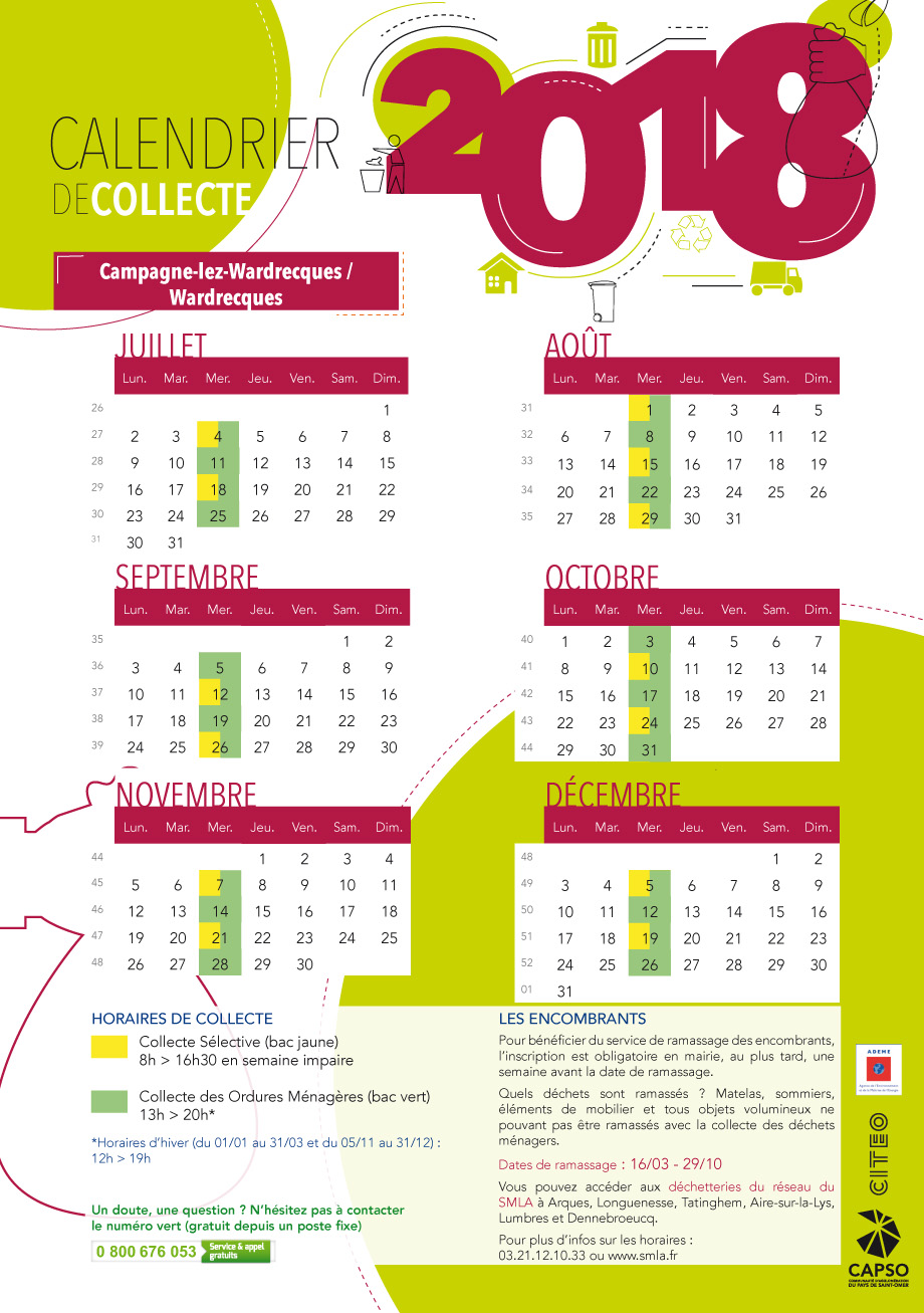 Calendrier campagne lez wardrecques et wardrecques 2018 2