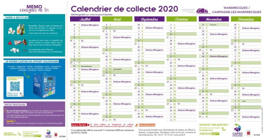 Clw et wardrecques calendrier collecte 2