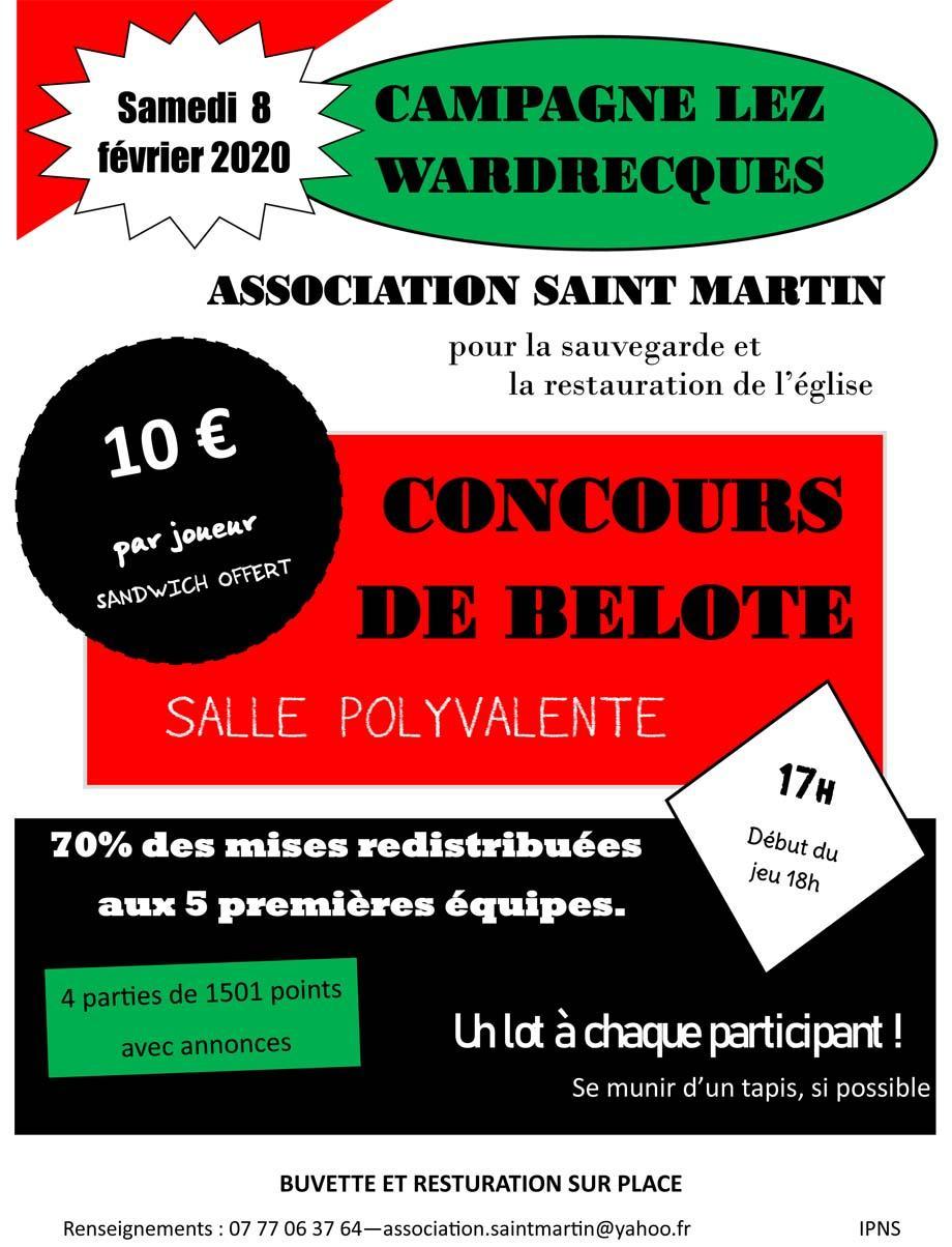 Concours de belote le 8 fevrier