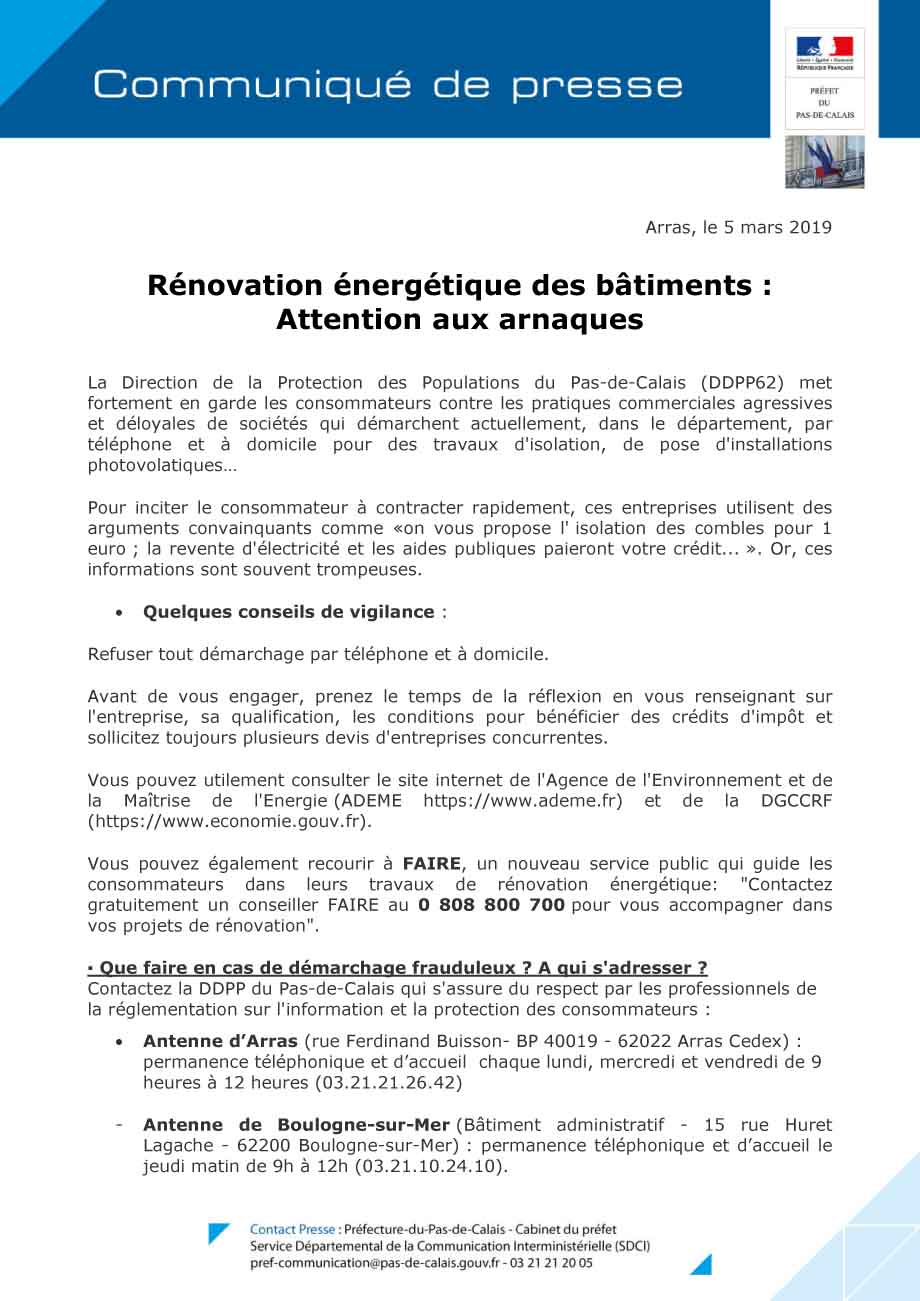Cp attention aux arnaques renovation energetique des batiments