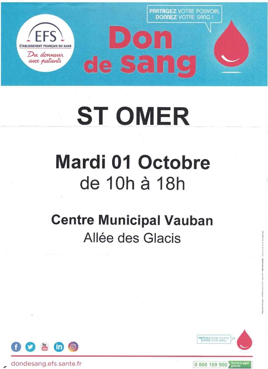 Don de sang 1er octobre