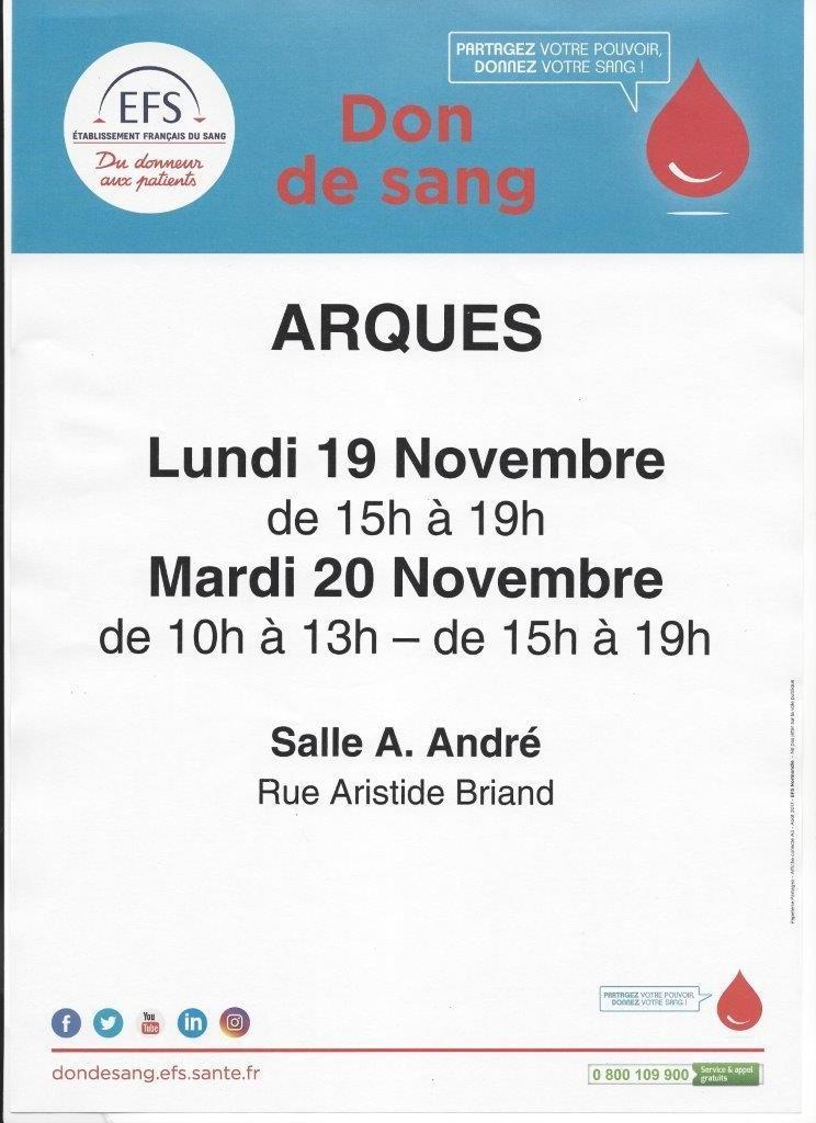 Don du sang arques 19 et 20 nov 2019