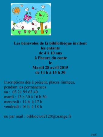 Heure du conte 28 avril 2015 affiche mairie